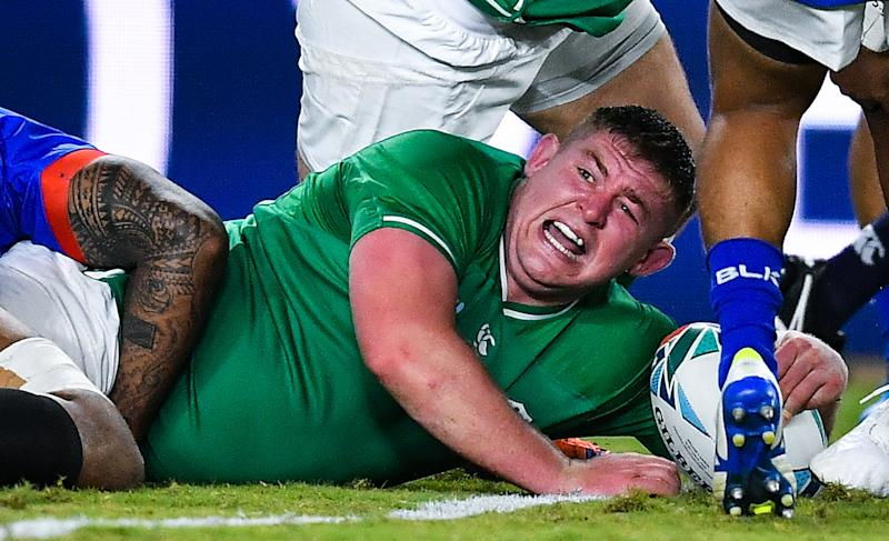 Tadhg Furlong of Ireland celebrates after scoring his side's second try. (Credit: Getty Images)