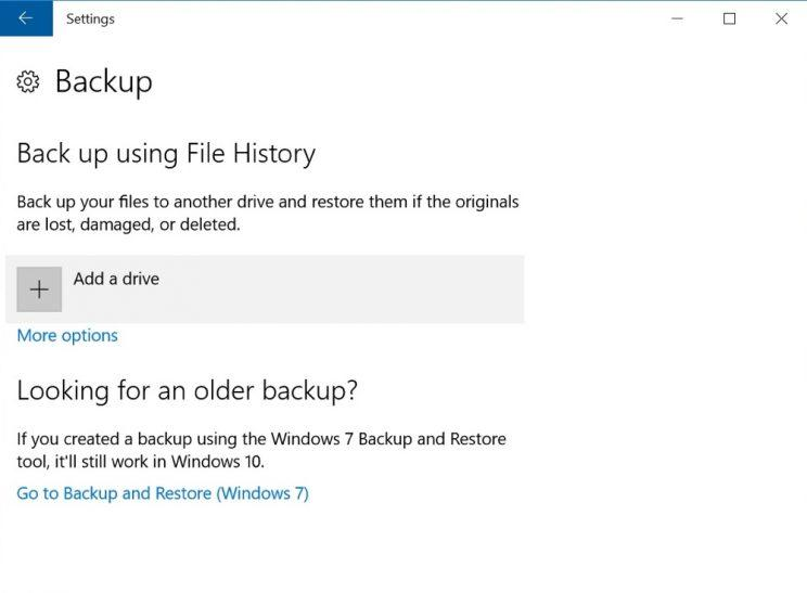 Windows 10 external drive backup.