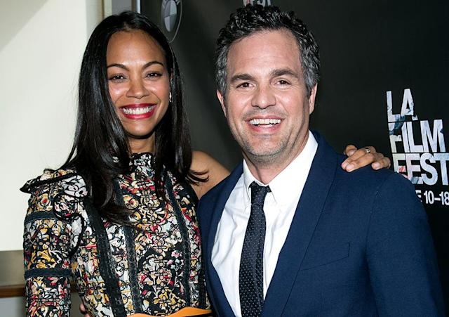 <p><em><em>Saldana starred with fellow Marvel star Mark Ruffalo for the dramedy <em>Infinitely Polar Bear</em>. (Photo: John Salangsang/AP) </em></em></p>