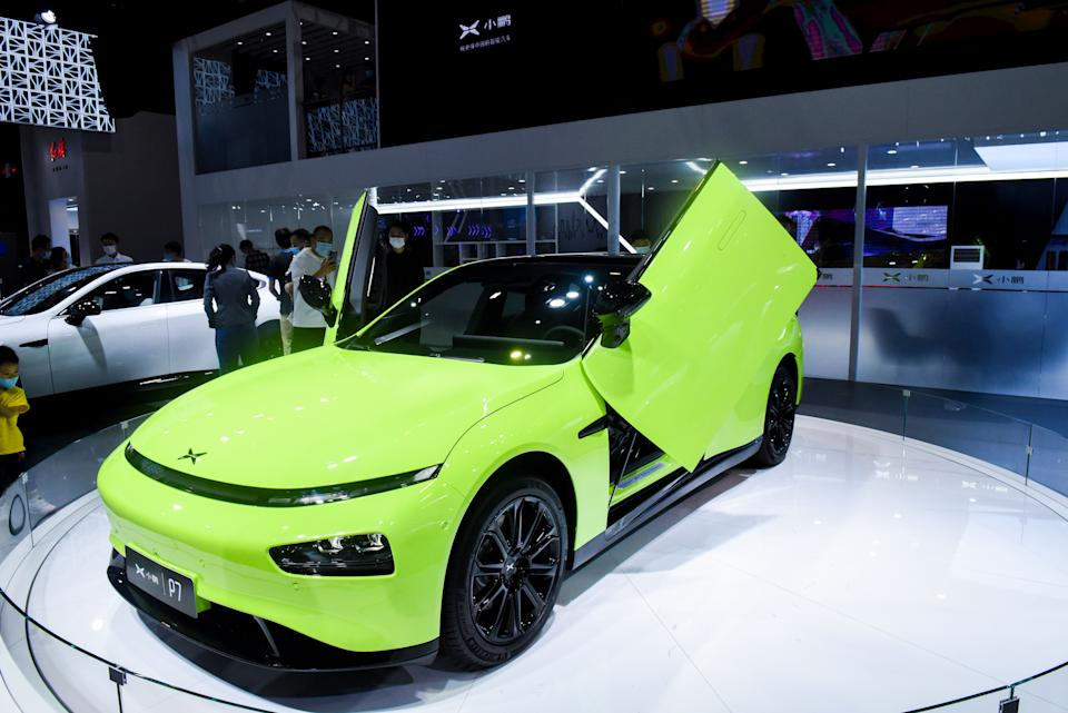 GUANGZHOU, CHINA - NOVEMBER 21: A XPeng P7 electric vehicle is on display during the 18th Guangzhou International Automobile Exhibition at China Import and Export Fair Complex on November 21, 2020 in Guangzhou, Guangdong Province of China. (Photo by Ou Jinwei/VCG via Getty Images)