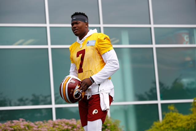 "<a class=""link rapid-noclick-resp"" href=""/nfl/teams/washington/"" data-ylk=""slk:Redskins"">Redskins</a> quarterback <a class=""link rapid-noclick-resp"" href=""/nfl/players/31847/"" data-ylk=""slk:Dwayne Haskins"">Dwayne Haskins</a> Jr. was the third quarterback selected in the 2019 NFL draft. (AP)"