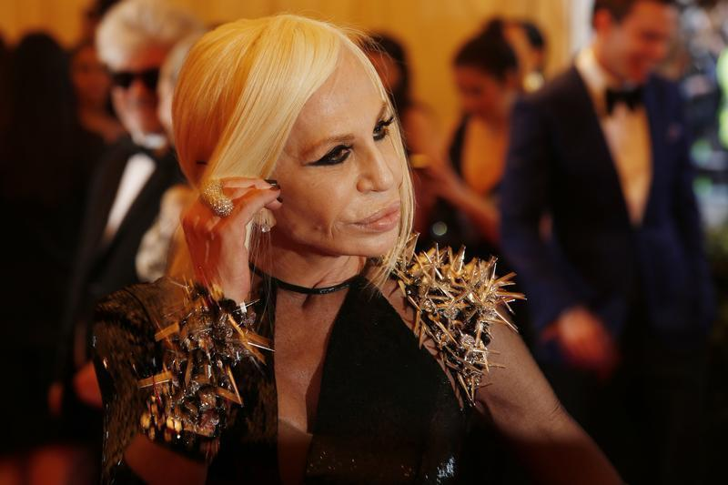 """Fashion designer Donatella Versace arrives at the Metropolitan Museum of Art Costume Institute Benefit celebrating the opening of """"PUNK: Chaos to Couture"""" in New York"""