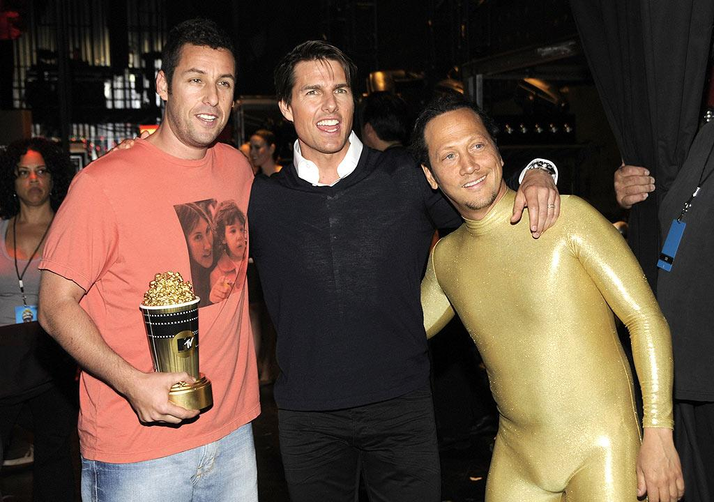 "Generation Award winner Adam Sandler posed backstage with his popcorn bucket, Tom Cruise, and BFF Rob Schneider. Kevin Mazur/<a href=""http://www.wireimage.com"" target=""new"">WireImage.com</a> - June 1, 2008"