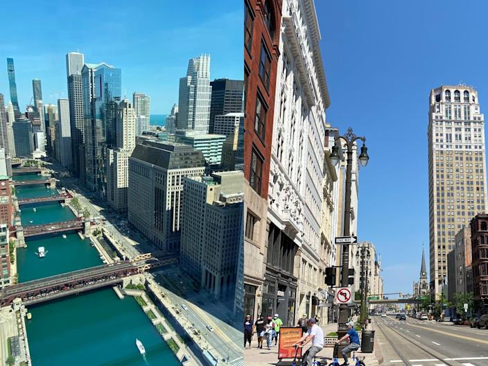 chicago skyline on left and detroit skyline on the right