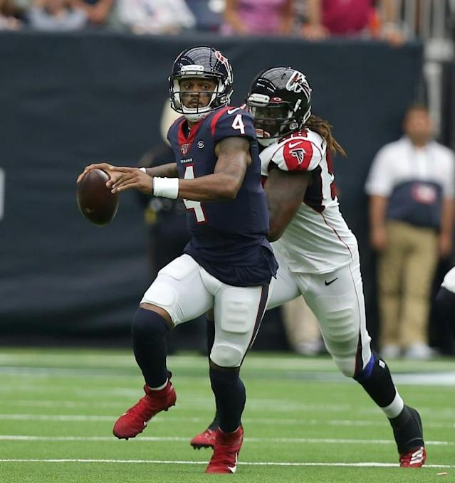 Houston Texans quarterback Deshaun Watson will provide a run and pass threat when his club visits Kansas City for a key NFL game on Sunday (AFP Photo/Bob Levey)