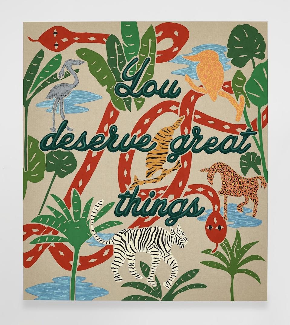 JOEL MESLER<br>Untitled (You Deserve Great Things) 2021<br>Pigment on linen<br>80 x 70 inches<br>(203.2 x 177.8 cm)