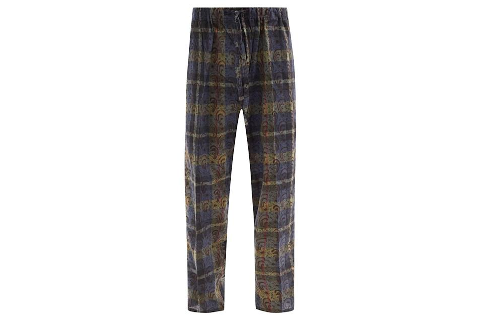 """$130, Matches Fashion. <a href=""""https://www.matchesfashion.com/us/products/South2-West8-Paisley-print-check-cotton-canvas-suit-trousers-1403707"""" rel=""""nofollow noopener"""" target=""""_blank"""" data-ylk=""""slk:Get it now!"""" class=""""link rapid-noclick-resp"""">Get it now!</a>"""