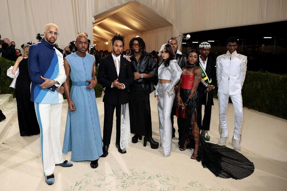 Defending F1 champion Lewis Hamilton (third left) at the Met Gala (Getty Images for The Met Museum)