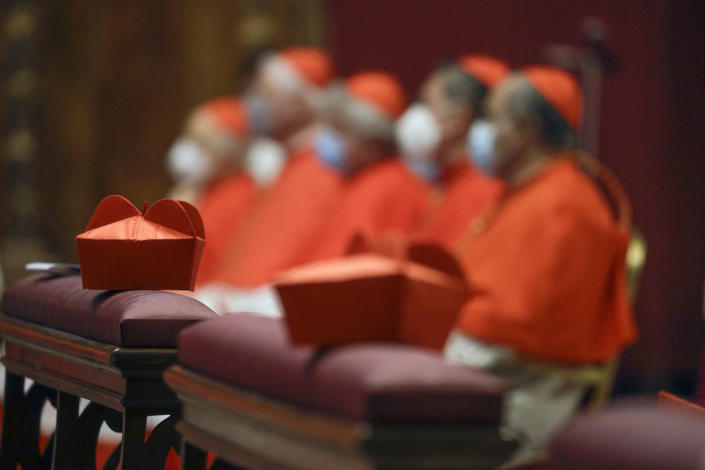 Cardinals sit as Pope Francis celebrates Mass the day after he raised 13 new cardinals to the highest rank in the Catholic hierarchy, at St. Peter's Basilica, Sunday, Nov. 29, 2020. (AP Photo/Gregorio Borgia, Pool)