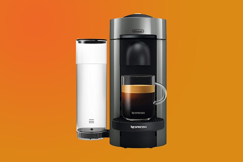 The Nespresso VertuoPlus plus milk frother and capsules is a bundle of goodness you don't want to miss. (Photo: Amazon)