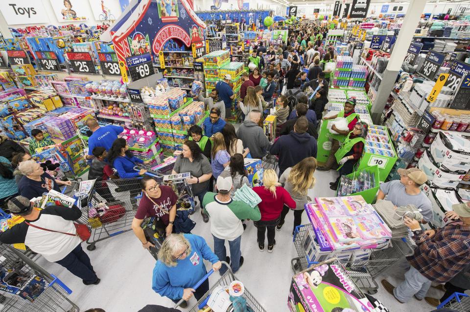 IMAGE DISTRIBUTED FOR WALMART - Walmart customers shop deals on toys in America's Best Toy Shop during Walmart's Black Friday store event on Thursday, Nov. 22, 2018 in Bentonville, Ark. (Gunnar Rathbun/AP Images for Walmart)