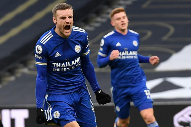 Leicester forward Jamie Vardy celebrates scoring from the penalty spot against Tottenham