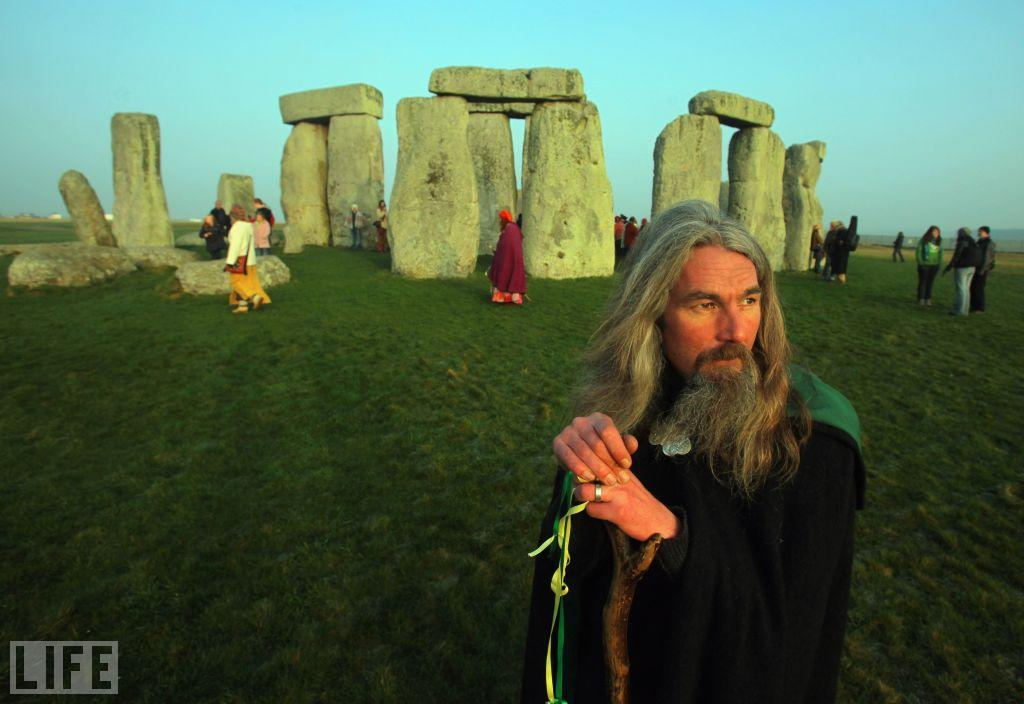 Druids watch the sunrise at Stonehenge, March 20, 2009.  Matt Cardy/Getty Images