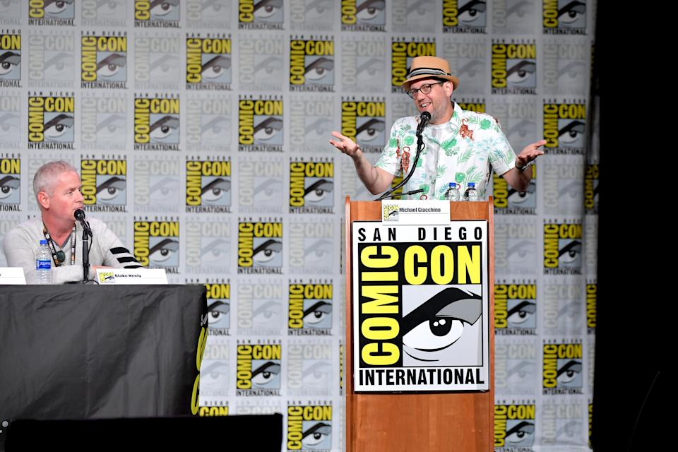 "SAN DIEGO, CALIFORNIA - JULY 18: Blake Neely and Michael Giacchino speak at the ""7th Annual Musical Anatomy Of A Superhero: Film And TV Composer"" panel during 2019 Comic-Con International at San Diego Convention Center on July 18, 2019 in San Diego, California. (Photo by Amy Sussman/Getty Images)"