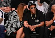 """<p>The couple were pictured for the first time together since the Grammys in April - <a href=""""https://www.elle.com/uk/life-and-culture/a35836960/beyonce-grammys-jay-z-speech/"""" rel=""""nofollow noopener"""" target=""""_blank"""" data-ylk=""""slk:where Beyoncé made history"""" class=""""link rapid-noclick-resp"""">where Beyoncé made history </a>- while watching the Brooklyn Nets play the Milwaukee Bucks. </p>"""
