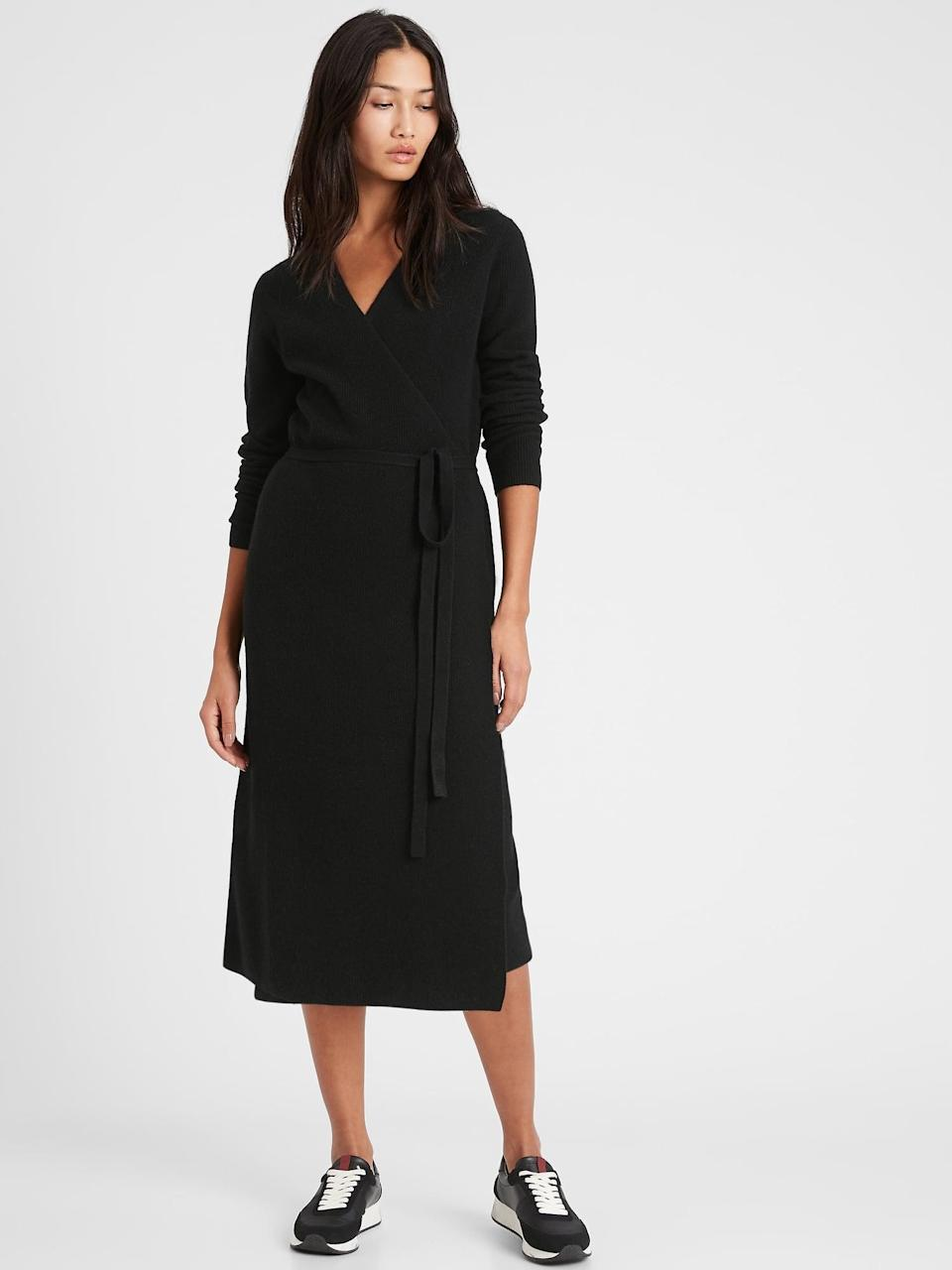 <p>As DVF discovered in the 70s, the wrap dress is a flattering style for every woman. I love the cozy, recycled knit of this <span>Banana Republic Wrap Sweater Dress</span> ($97, originally $139).</p>