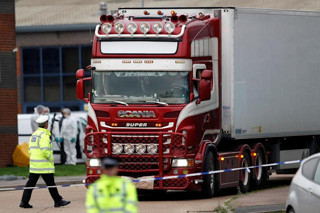 A man has been charged with human trafficking offences in relation to the deaths of 39 people found in a lorry in Essex in October (Picture: REUTERS/Peter Nicholls)