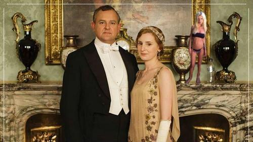 Downton Abbey promotional photo with miniature Tara Reid on the mantel