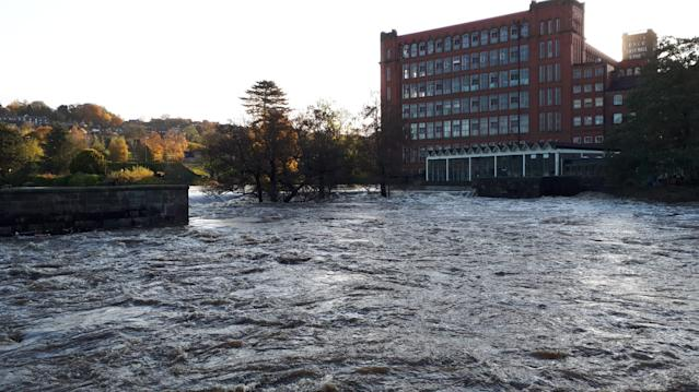 Handout photo issued by Mike Saqui showing flooding in Belper, Derbyshire, after the river Derwent bursts its banks (PA)