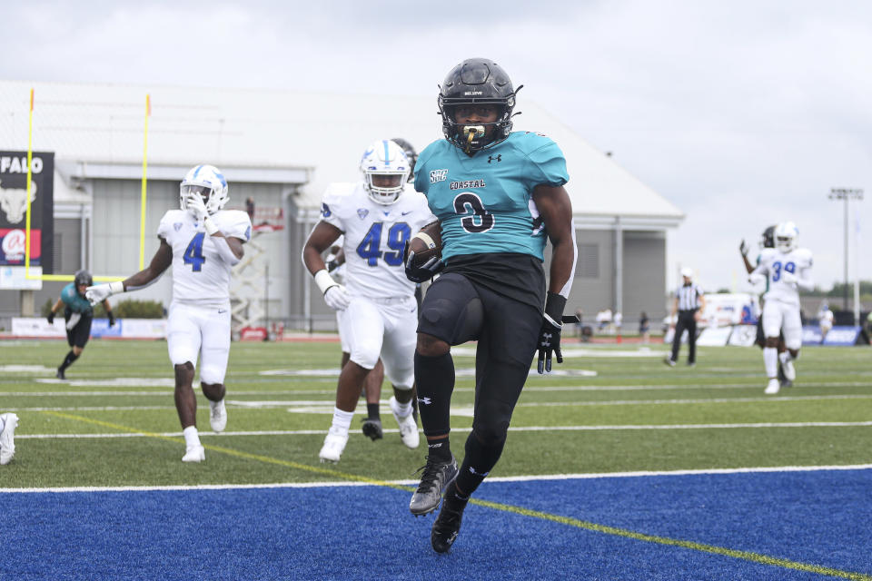 Coastal Carolina wide receiver Aaron Bedgood (3) runs into the end zone for a touchdown during the first half of a NCAA college football game against Buffalo in Buffalo, N.Y. on Saturday, Sept. 18, 2021. (AP Photo/Joshua Bessex)