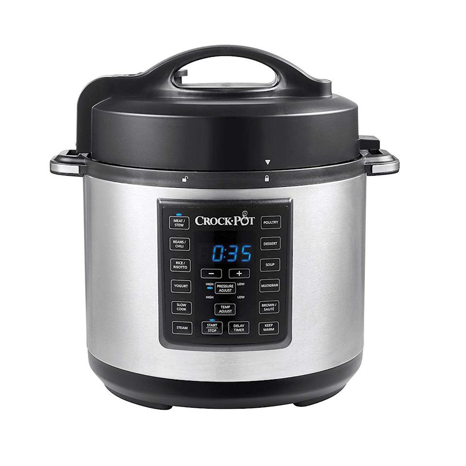 "<p><strong>Crock-Pot </strong></p><p>https://www.walmart.com/</p><p><strong>$89.99</strong></p><p><a href=""https://go.redirectingat.com?id=74968X1596630&url=https%3A%2F%2Fwww.walmart.com%2Fip%2FCrock-Pot-6-Qt-8-in-1-Multi-Use-Express-Crock-Programmable-Pressure-Cooker-Slow-Cooker-Saut-and-Steamer-Black-Stainless-Steel%2F625545589%3Fselected%3Dtrue&sref=https%3A%2F%2Fwww.goodhousekeeping.com%2Fappliances%2Fslow-cooker-reviews%2Fg1996%2Ftop-rated-slow-cookers%2F"" rel=""nofollow noopener"" target=""_blank"" data-ylk=""slk:Shop Now"" class=""link rapid-noclick-resp"">Shop Now</a></p><p>Crock-Pot's 6-quart Express is a master at slow cooking, but it also pressure cooks, browns, sautés, and steams. So if you don't have time to add ingredients in the morning but still want an effortless, no-stress meal, you can make chili, soup, or stew when you get home from the office on the pressure cook setting instead. It has a <strong>delay start and keep warm feature </strong>so you can hold your food at the ideal serving temperature until everyone in the family is ready to eat. After you're done, place the non-stick cooking pot into your dishwasher for easy cleanup! </p>"
