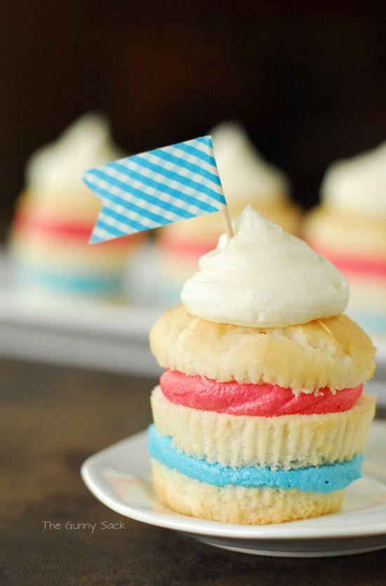 """<p>Enjoy the taste of frosting in each and every bite. (Plus, these adorable flags are <em>so</em> easy to make with just some toothpicks and a roll of washi tape on hand.)</p><p><a href=""""http://www.thegunnysack.com/fourth-of-july-cupcakes/"""" rel=""""nofollow noopener"""" target=""""_blank"""" data-ylk=""""slk:Get the recipe from The Gunny Sack »"""" class=""""link rapid-noclick-resp""""><em>Get the recipe from The Gunny Sack »</em></a></p>"""