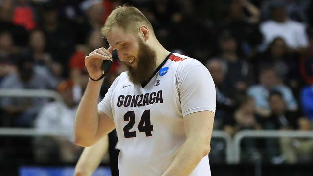 South Carolina's Chris Silva rejected Gonzaga's 7-footer, but hit him in the face on the follow-through.