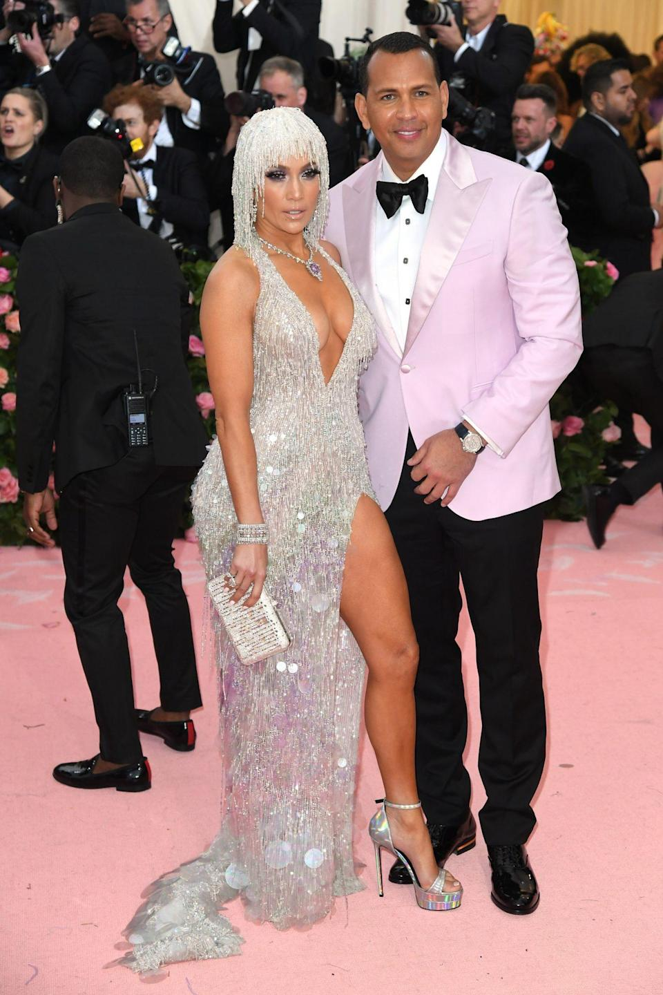 <p>The pair stepped out again at the Met Gala in 2019, with Lopez wearing a Versace dress and her fiancé wearing a pink tuxedo. </p>