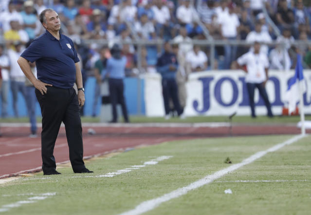 United States coach Bruce Arena stands on the sideline during a 2018 World Cup qualifying soccer match against Honduras in San Pedro Sula, Honduras, Tuesday, Sept. 5, 2017. (AP Photo/Rebecca Blackwell)