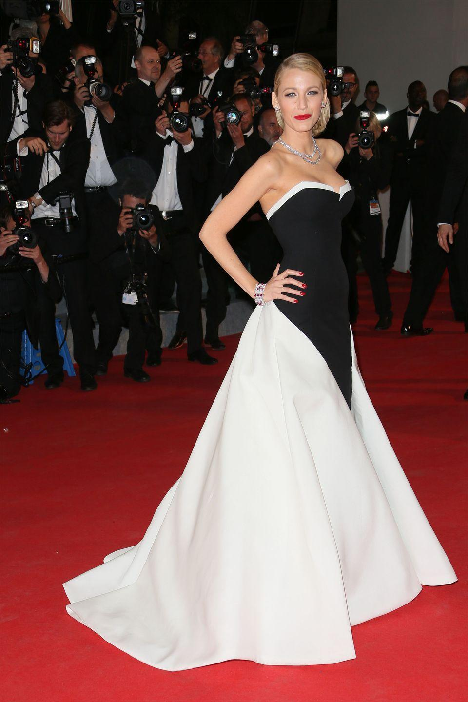 <p>Blake Lively in custom Gucci</p>