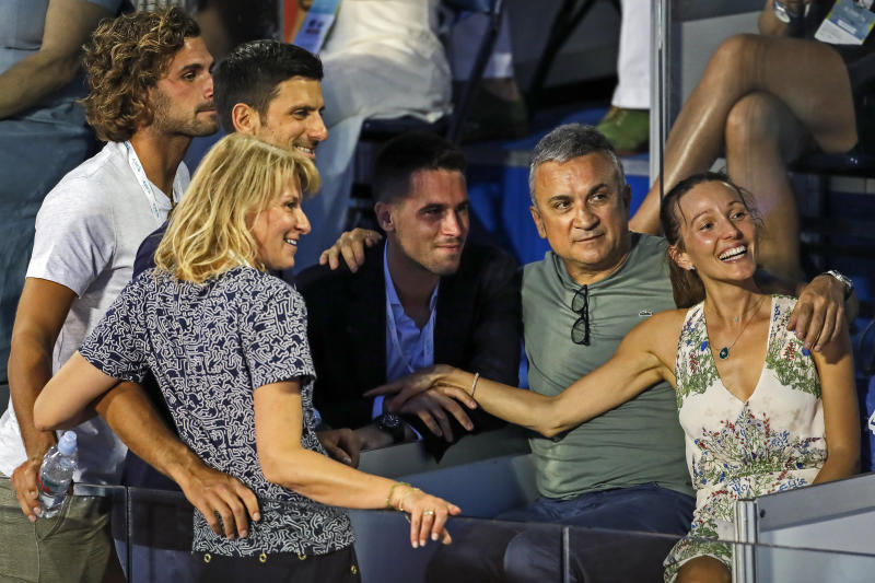 BELGRADE, SERBIA - JUNE 14: (L-R)The Djokovic family, Novak's mother Dijana, Novak Djokovic, Novak's brother Djordje, Novak's father Srdjan and Novak's wife Jelena pose during the Adria Tour Final match between Dominic Thiem of Austria and Filip Krajinovic of Serbia charity exhibition hosted by Novak Djokovic on June 14, 2020 in Belgrade, Serbia. (Photo by Srdjan Stevanovic/Getty Images)