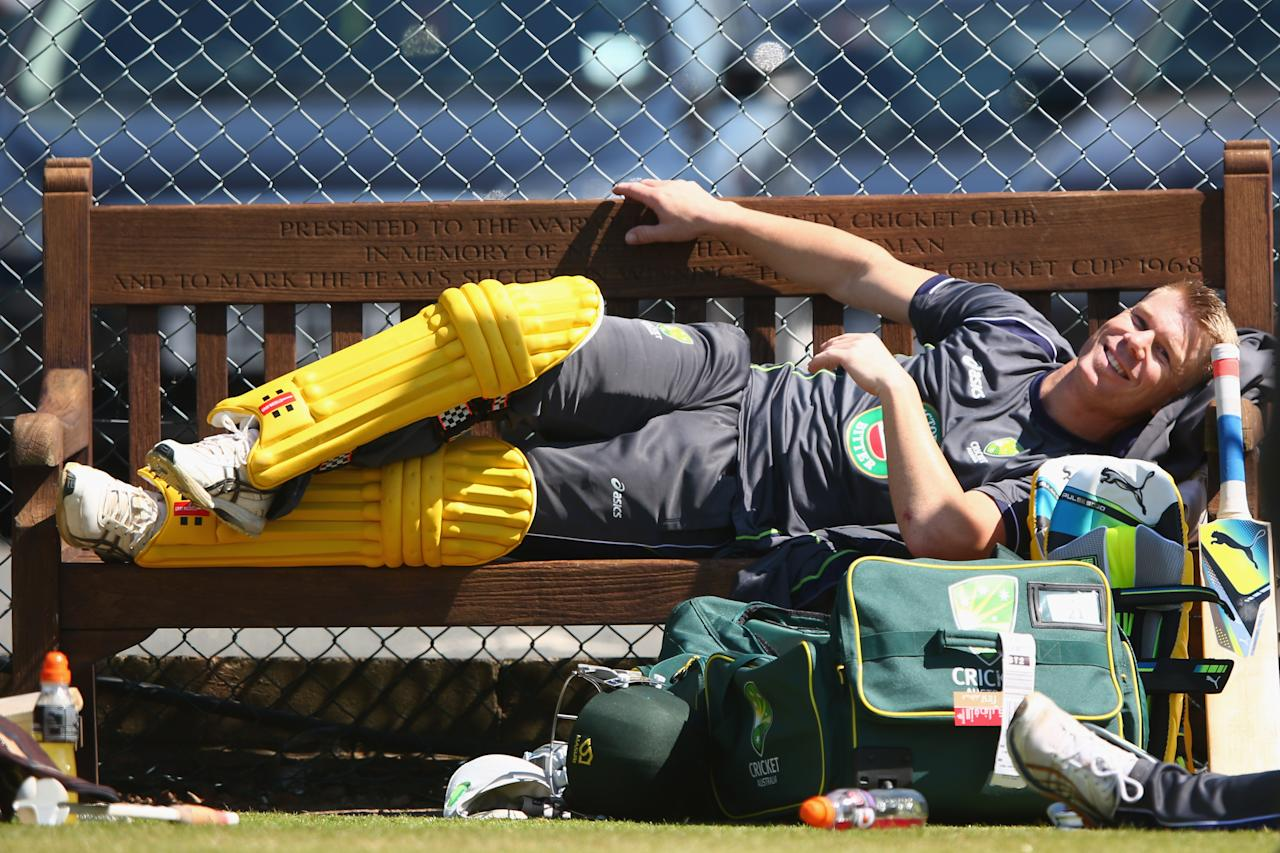 BIRMINGHAM, ENGLAND - JUNE 07:   David Warner takes it easy during the Australia nets session at Edgbaston on June 7, 2013 in Birmingham, England.  (Photo by Michael Steele/Getty Images)