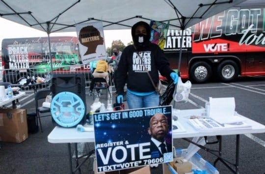 Black Voters Matter hosted a get-out-the-vote event in Philadelphia Oct. 17, 2020.