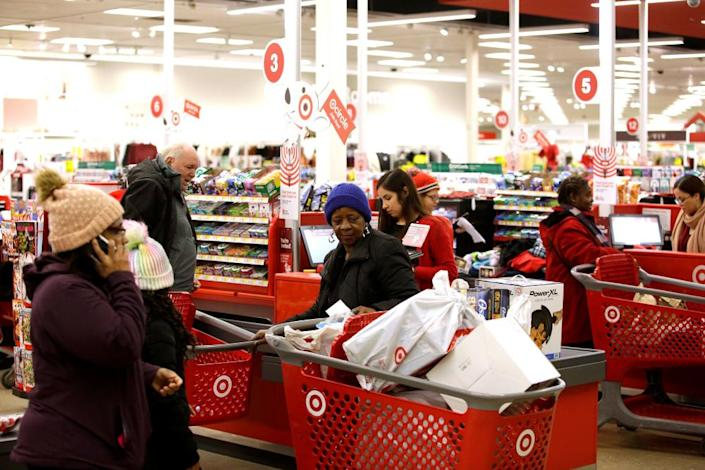 """<span class=""""element-image__caption"""">As Target workers report struggling to make ends meet, Target reported record share prices at the end of 2019.</span> <span class=""""element-image__credit"""">Photograph: Joshua Lott/Reuters</span>"""