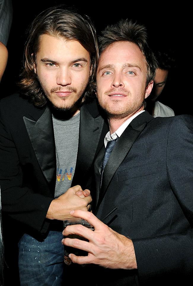"""The paparazzi also caught """"Into the Wild"""" hottie Emile Hirsch and his BFF, """"Breaking Bad"""" star Aaron Paul, getting their drink and dance on. Jamie McCarthy/<a href=""""http://www.wireimage.com"""" target=""""new"""">WireImage.com</a> - October 3, 2009"""