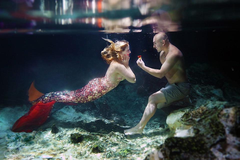 """Using Photoshop, the photographercloned the sequins on the tail to create a full mermaid effect on Cammy in some of the photos. (Photo: <a href=""""https://www.instagram.com/delsolphoto/"""" target=""""_blank"""">Del Sol Photography</a>)"""