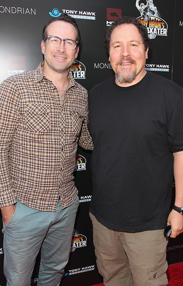 Jason Lee, who served as co-chair of the event, posed with friend Jon Favreau on his way in. Lee may be most famous for being an actor these days, but he actually used to be a pro skateboarder and recently appeared in the video game Tony Hawk's Project 8. (10/7/2012)