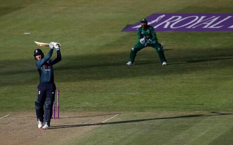 Jason Roy smashes a six down the ground - Credit: PA