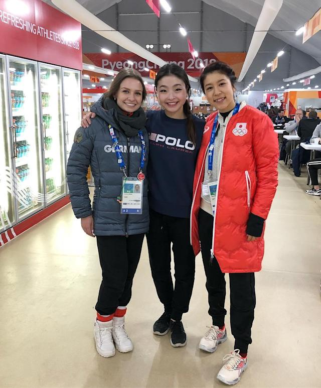 <p>maiashibutani: The ladies of the Canton crew. We have all been training and working so hard! Very happy we can share this experience. @kavitalorenz @k.a.n.a.m.u.r.a #WinterOlympics (Photo via Instagram/maiashibutani) </p>