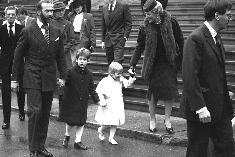 Prince and Princess Michael of Kent, with their two children Lord Frederick and Lady Gabriella Windsor, leave St George's Chapel after members of the Royal Family attended the traditional Christmas Day service in 1984. (PA Images)