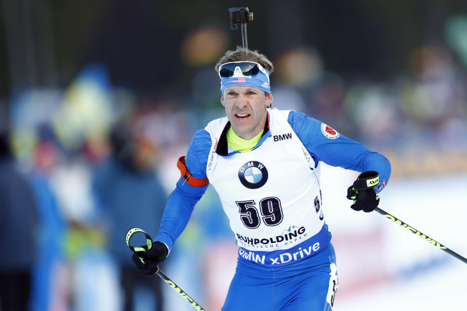 Lowell Bailey of the U.S. competes during the men's 20 km individual competition at the biathlon World Cup in Ruhpolding, Germany, Wednesday, Jan. 10, 2018. (AP)
