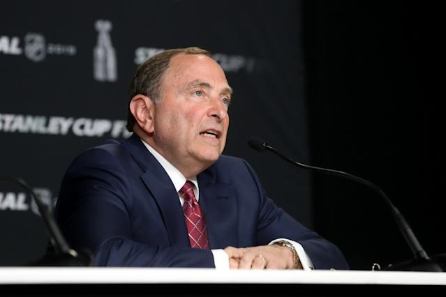 """NHL Commissioner Gary Bettman speaks before Game 1 of the 2019 Stanley Cup finals on May 27, 2019. <span class=""""copyright"""">(Bruce Bennett / Getty Images)</span>"""