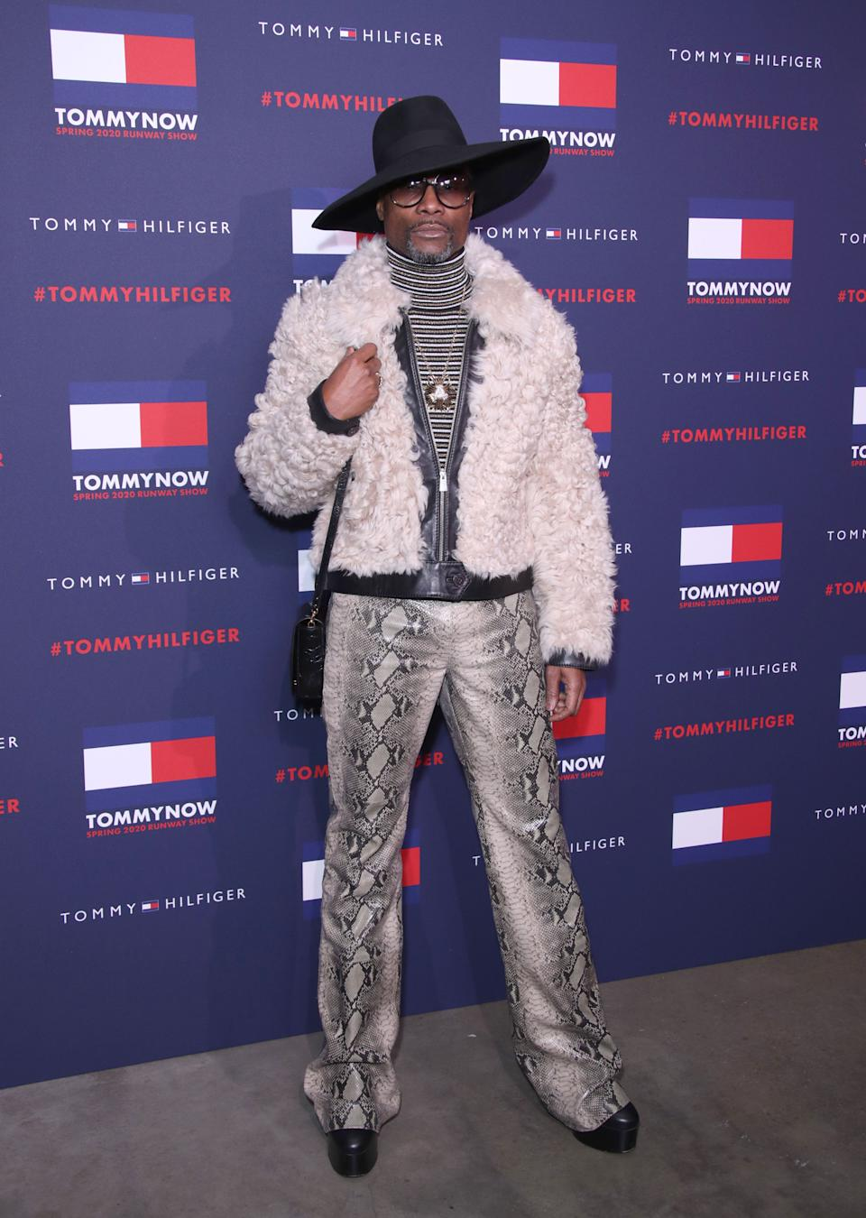 Billy Porter arrives at the Tommy Hilfiger show. (Getty Images)