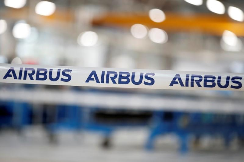 The logo of Airbus Group is seen at the Airbus Helicopters Paris-Le Bourget plant dedicated to the production and the renovation of helicopters blades, in Dugny