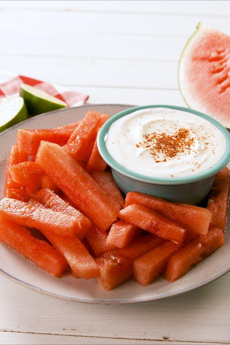 """<p>Greek yogurt dipping sauce? Yes please.</p><p>Get the recipe from <a href=""""https://www.delish.com/cooking/recipe-ideas/a27483578/watermelon-fries-recipe/"""" rel=""""nofollow noopener"""" target=""""_blank"""" data-ylk=""""slk:Delish"""" class=""""link rapid-noclick-resp"""">Delish</a>.</p>"""
