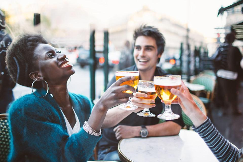 """<p>Following three long, wintery months, the government are finally permitting hospitality venues like restaurants and bars to open on April 12, 2021 - so long as they have outdoor areas for dining. </p><p>As the government's 'roadmap' out of lockdown states, from this time 'Hospitality venues will be allowed to serve people outdoors... there will be no need for customers to order a substantial meal with alcoholic drinks and no curfew, although customers must order, eat and drink while seated ('table service'). Wider social contact rules will apply in all these settings to prevent indoor mixing between different households.'</p><p>The roadmap also adds that the 'rule of six' - or two households mixing - still applies. So you can head out to for a drink or dinner at a bar, but only within groups of six.</p><p> With this in mind, we've rounded up the <a href=""""https://www.elle.com/uk/life-and-culture/travel/g30495431/best-cocktail-bars-london/"""" rel=""""nofollow noopener"""" target=""""_blank"""" data-ylk=""""slk:best spots in the capital for drinks"""" class=""""link rapid-noclick-resp"""">best spots in the capital for drinks</a> and <a href=""""https://www.elle.com/uk/life-and-culture/culture/g34104596/london-restaurants-culinary-trip-travel-world/"""" rel=""""nofollow noopener"""" target=""""_blank"""" data-ylk=""""slk:dinner"""" class=""""link rapid-noclick-resp"""">dinner</a> with an outdoor area - which are hopefully heated too given the unpredictable nature of the British springtime (but we'll keep our fingers crossed!)<br></p>"""