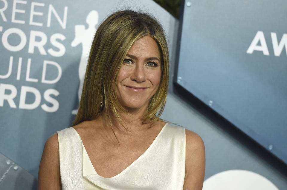Jennifer Aniston arrives at the 26th annual Screen Actors Guild Awards at the Shrine Auditorium & Expo Hall on Sunday, Jan. 19, 2020, in Los Angeles. (Photo by Jordan Strauss/Invision/AP)