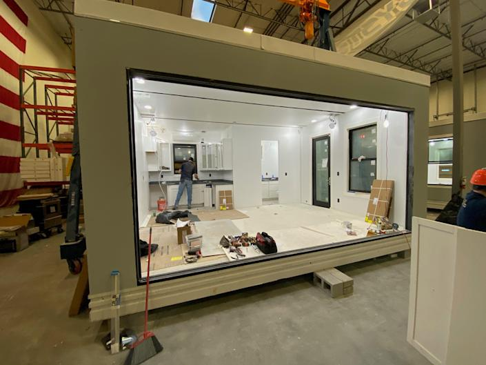 A look inside the Casita as its in a manufacturing space