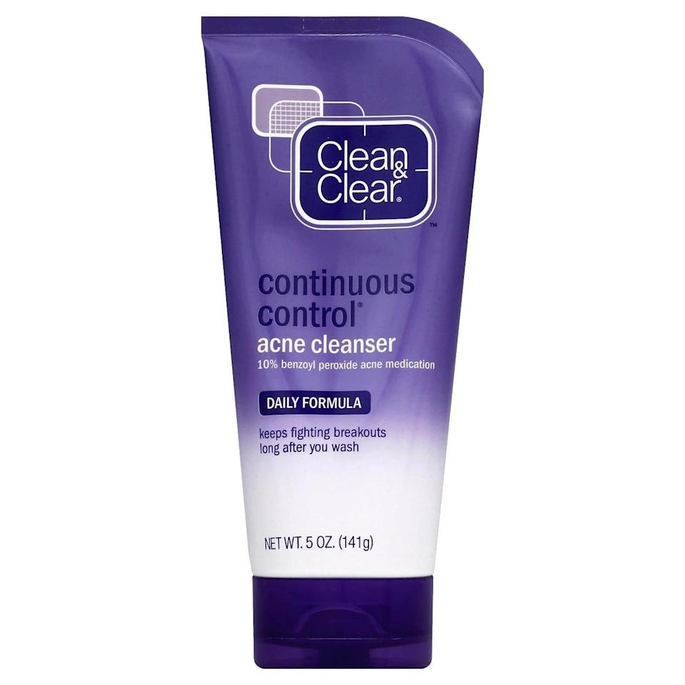 <p>An editor-favorite (and dermatologist-approved) drugstore option for years, the <span>Clean &amp; Clear Continuous Control Acne Cleanser</span> ($6) contains a whopping 10 percent benzoyl peroxide to kill bacteria on the skin and minimize breakouts. Leave it on for a few minutes while sudsing to get the most out of the powerful ingredient.</p>