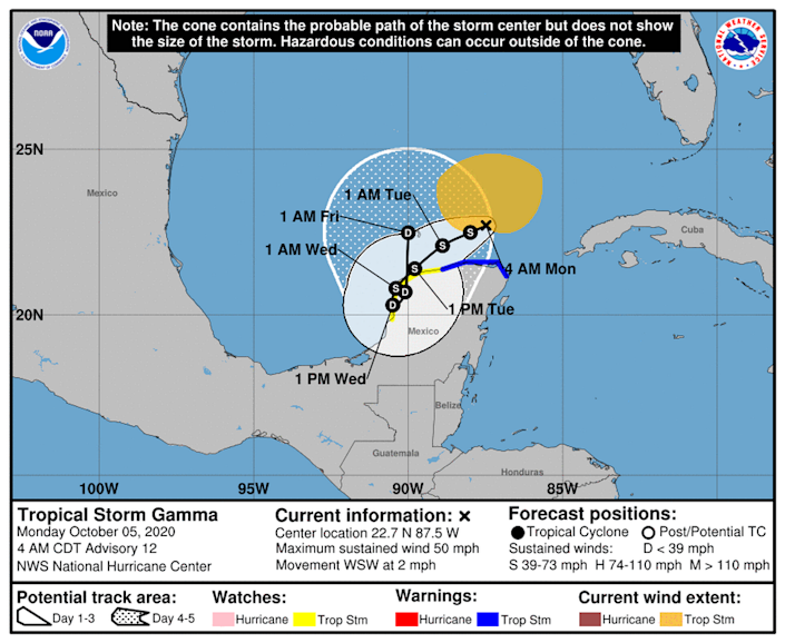 Tropical Storm Gamma continues to hover just offshore of the Yucatan Peninsula.